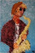 tableau scene de genre musicien saxophone saxophoniste homme : Sax
