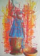 tableau personnages afrique benin cotonou aibatin : La ménagère