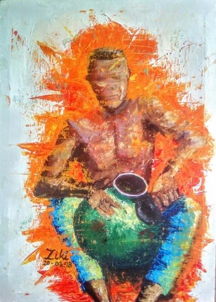 TABLEAU PEINTURE Afrique Benin Cotonou Aïbatin Acrylique  - Joueur de gota