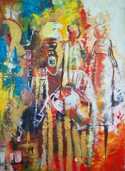 TABLEAU PEINTURE Afrique Benin Cotonou Aïbatin Personnages Acrylique  - La cérémonie du mariage