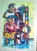 tableau personnages afrique benin cotonou aibatin : Chez la coiffeuse
