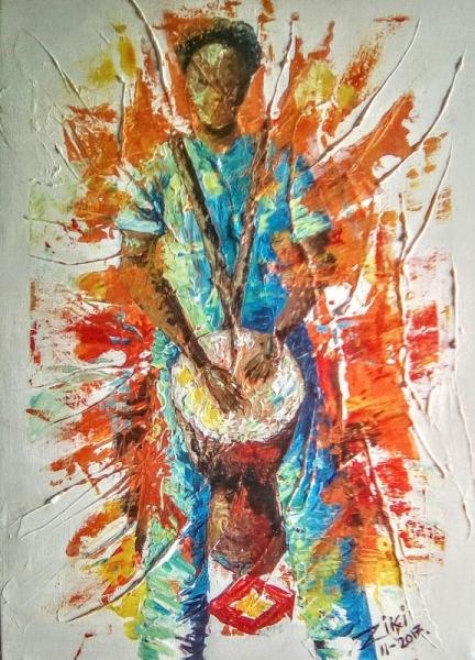 TABLEAU PEINTURE Afrique-Équatoriale Benin Cotonou Aïbatin Personnages  - Le joueur de djembé