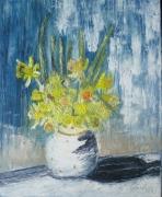 tableau fleurs narcisses vase : Narcisses en vase