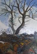 tableau paysages arbre roches bord de mer vent : Arbres dans la tourmente