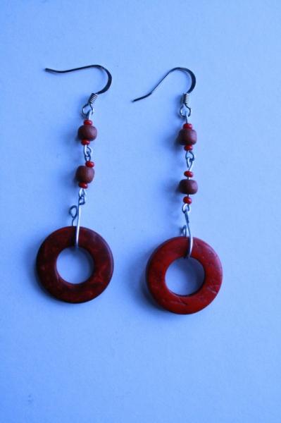 BIJOUX Boucles d'oreil pendante bijoux perle en bois  - En bois rouge