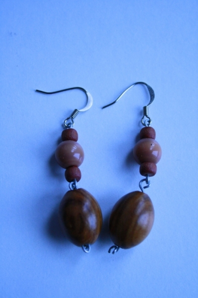 BIJOUX Boucles d'oreil pendante perles en bois  - Perle et bois 2