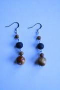 bijoux boucles d oreil pendante perles en bois : Perle et bois