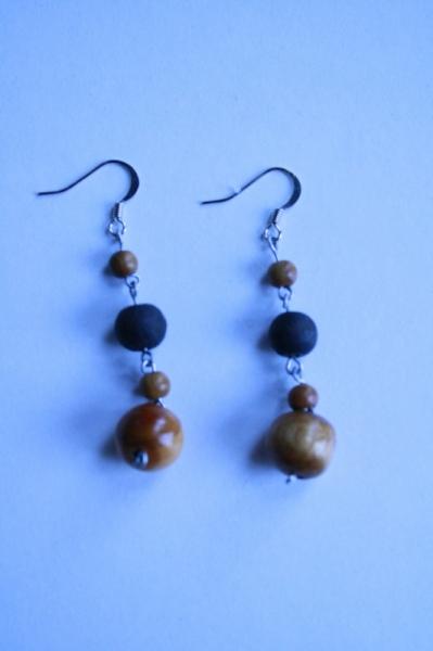 BIJOUX Boucles d'oreil pendante perles en bois  - Perle et bois