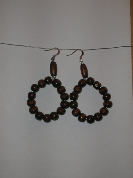 BIJOUX boucles d'oreil perle en bois anneaux  - Cercle en bois