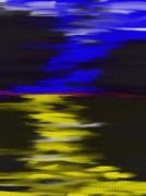 art numerique abstrait jaune bleu eau air : oppposition