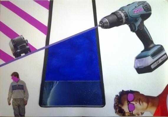 TABLEAU PEINTURE Violet Collage Bleu Abstrait Collage  - Bad Pink