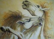 """tableau animaux animaux chevaux portrait combat : """"COMBAT DE PUR-SANG 2"""""""