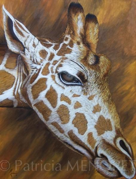 """TABLEAU PEINTURE animaux giraffe portrait afrique Animaux Acrylique  - """"VANAJA"""""""