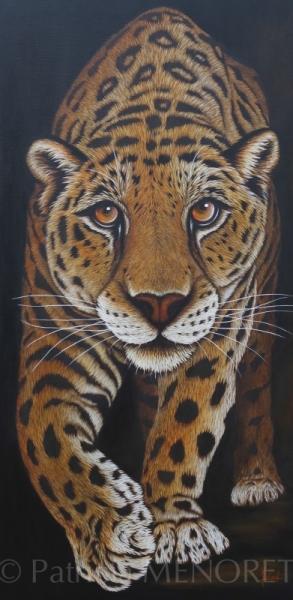 """TABLEAU PEINTURE animaux jaguar grand félin fauve Animaux Acrylique  - """"SWEET"""""""