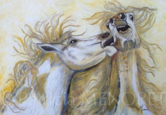"""TABLEAU PEINTURE animaux chevaux portrait combat Animaux  - """"COMBAT DE PUR-SANG 1"""""""