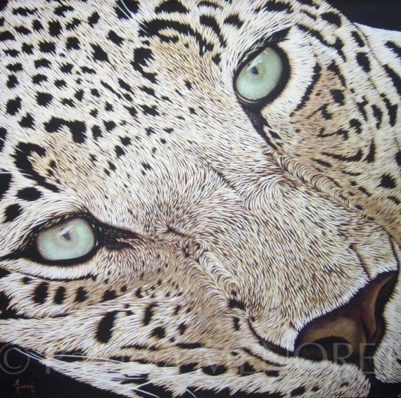 """TABLEAU PEINTURE animaux leopard fauve afrique Animaux Acrylique  - """"MANI"""""""