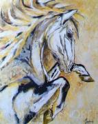 """tableau animaux animaux chevaux cheval portrait : """"CARACOLE"""""""