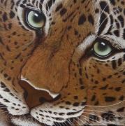 """tableau animaux leopard fauve felin portrait : """" CHAYAN """""""