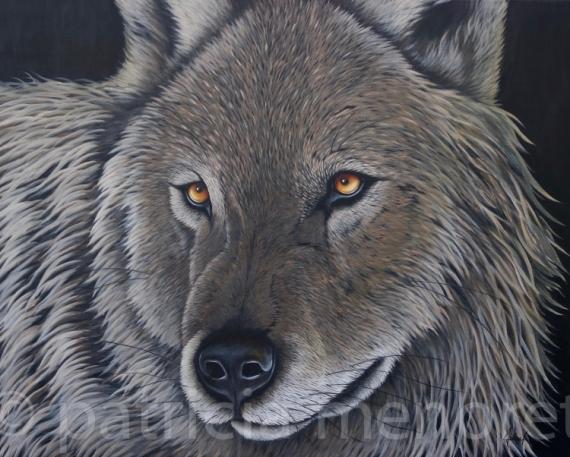 "TABLEAU PEINTURE animaux loup animal forêt Animaux Acrylique  - "" WOLF"""
