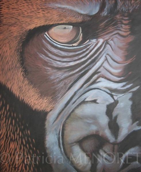 """TABLEAU PEINTURE animaux gorille singe portrait Animaux Acrylique  - """"YOCHANA"""""""