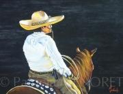 "tableau animaux cheval animal cavalier portrait : ""MEXICAIN"""