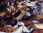 """tableau animaux chevaux animal cheval portrait : """"TROUPEAU"""""""