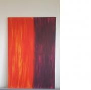 tableau abstrait feu univers interieur peinture : Tempête de feu