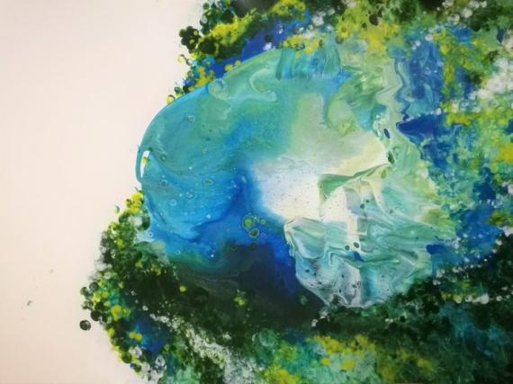 TABLEAU PEINTURE Meduse bubble vague Marine Acrylique  - Méduse