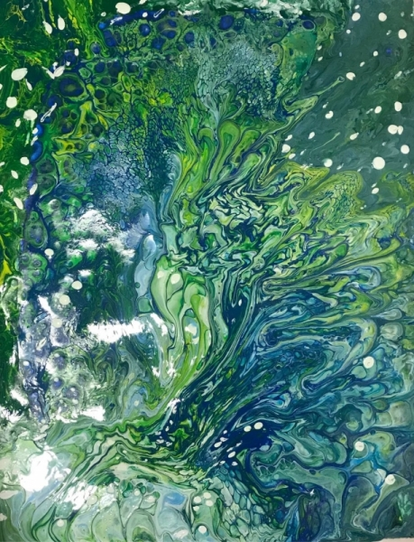 TABLEAU PEINTURE Bulles Absorbtion Water Abstrait Acrylique  - Marais