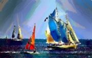 art numerique marine voiliers mer ports : Régates