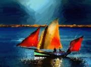 art numerique marine voiliers mer port : Voiles au crépuscule