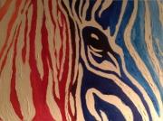 tableau abstrait animaux zebre degrade oeil : Zèbre coloré