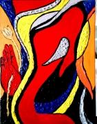 tableau abstrait ganesh asie dieu peinture ,a l hu : Ganesh façon Picasso