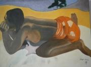tableau personnages jeune femme plage : TAHITI (copie)