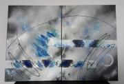tableau abstrait diptyque abstrait contemporain gris : Lune