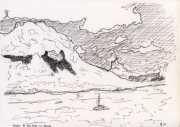 dessin : Nuages de beau temps sur Moorea