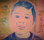tableau personnages enfance portrait acrylique pochade : Cousine pensive