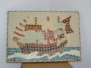 tableau paysages mosaique au fil de l eau : BATEAU