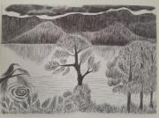 dessin paysages paysage lac oiseau montagne : Lac provençal