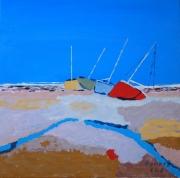 tableau marine toile mer voilliers bleu : les quatre voiliers