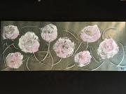 tableau fleurs pivoines rose argent leger : Pivoines
