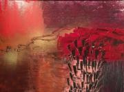 tableau abstrait rouge chaud tropical sensuel : Rouges intenses