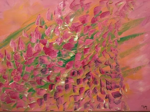 TABLEAU PEINTURE Fleurs Acrylique  - Lupins