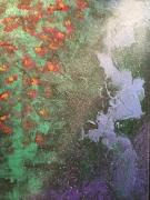 tableau abstrait bleu vert rose : Vapeurs fleuries