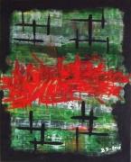 tableau abstrait abstract acrylique painting contemporaine : Guerre et paix