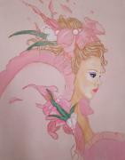 tableau personnages tableau femme romantique toile romantique tableau rose tableau femme : Tableau femme romantique