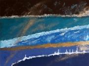 tableau abstrait abstrait bleu or resine : Bleu or marron résine
