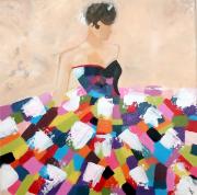 tableau personnages toile femme toile femme coloree tableau femme moderne tableau moderne : Tableau femme à la robe colorée