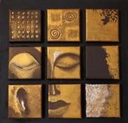 tableau autres bouddha zen deco murale noir et or : Bouddha zen