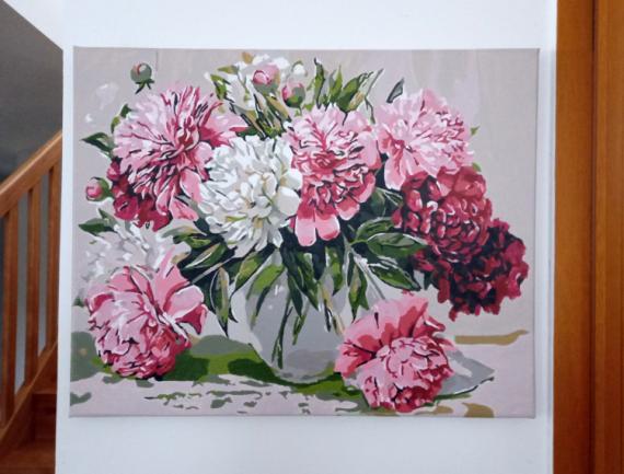 TABLEAU PEINTURE tableau fleurs tableau pivoines tableau fleurs moderne tableau romantique Fleurs Peinture a l'huile  - Tableau fleurs pivoines moderne